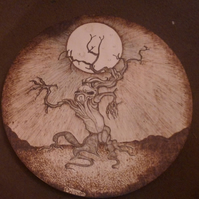 Hand pyrographed fantasy tree monster board