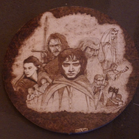 Hand pyrographed Lord of the rings characters board