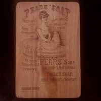 Hand pyrographed Victorian style pears soap advert board