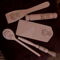 Hand pyrographed childrens wooden 5 piece baking set