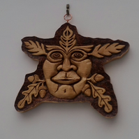 Hand pyrographed and hand carved Greenman plaques