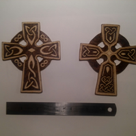 Hand pyrographed wooden celtic cross