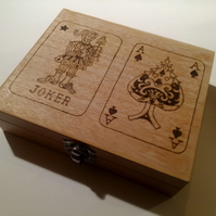 Hand pyrographed twin deck of cards box.