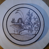 Hand pyrographed Fantasy Fairy board