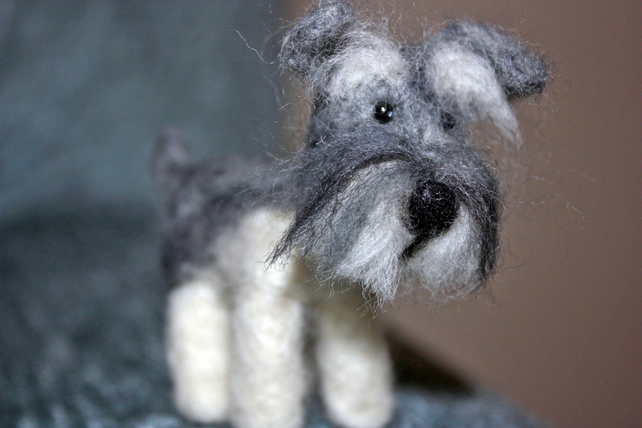 Miniature Needle Felted Dog Schnauzer And Fre Folksy