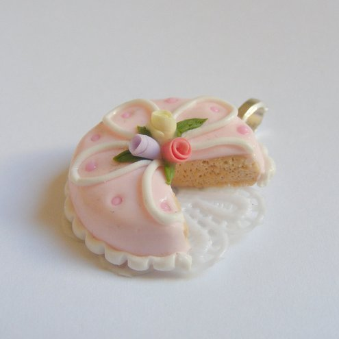 Scented Iced Roses Cake Necklace Pendant - Miniature Food Jewellery