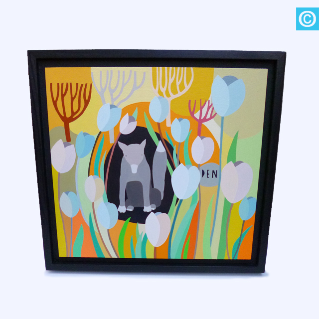 Original Painting - Grey Fox in Garden Den Illustration