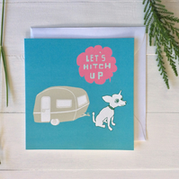 Funny Dog And Caravan Greeting Card