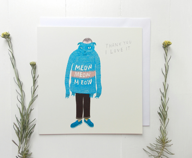 THANK YOU CARD - Funny Meow Meow Knitted Jumper