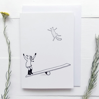 Best Friends with my Cat See-Saw Card