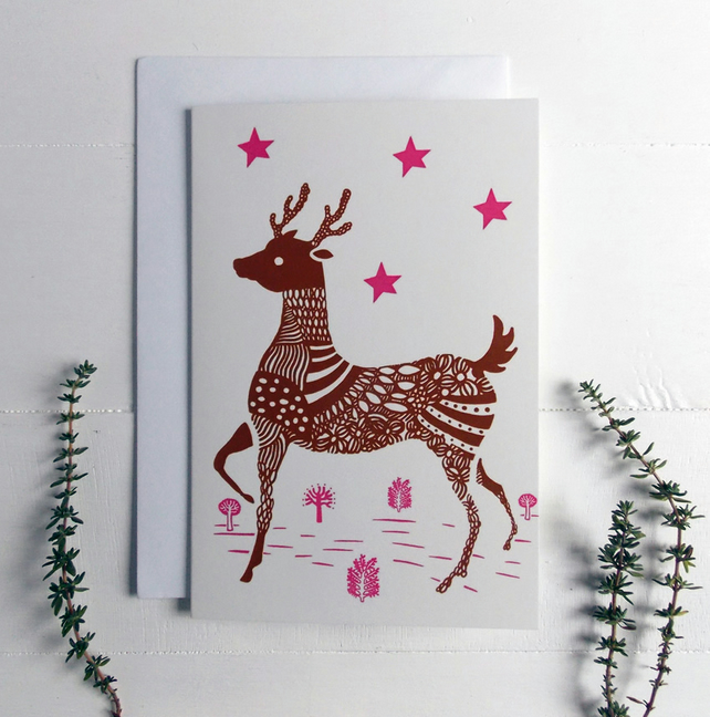 5 Christmas Knitted Reindeer Cards