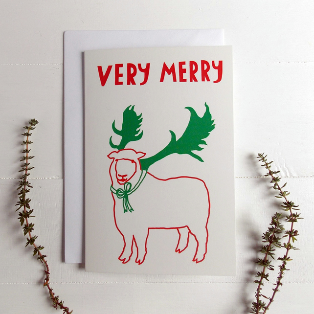 5 Very Merry Sheep Christmas Cards