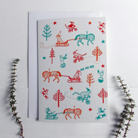 5 Christmas Snow Scene Cards