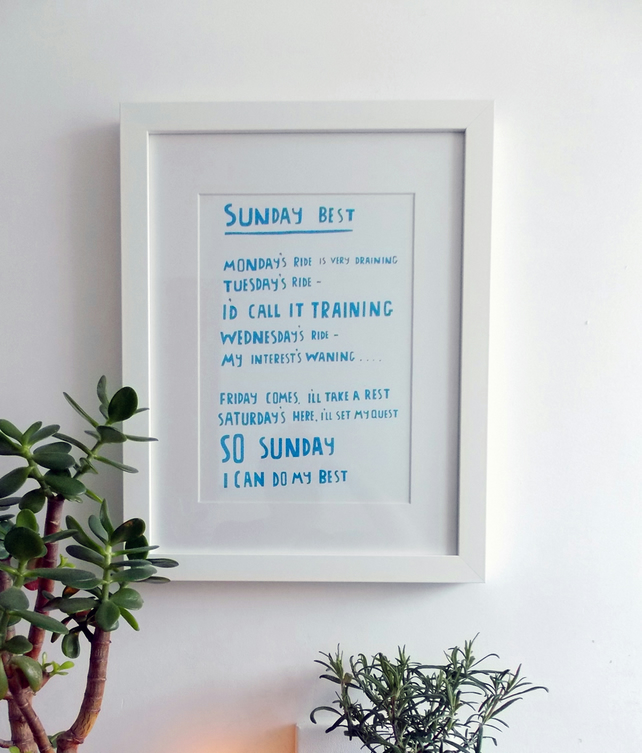 Sunday Best Cyclist Screen Print - BLUE - wall art