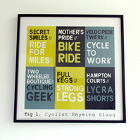 Hand Pulled Screen Print - Cyclist Rhyming Slang Collection