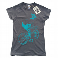 Women's T-shirt - Biker Girl - Charcoal