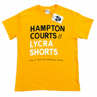 Hampton Courts : Lycra Shorts - Men's Yellow Cyclist Rhyming Slang T-Shirt