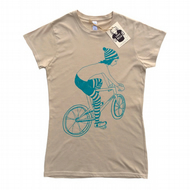 Women's Cycling T-shirt - Biker Girl - Cream colour