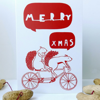 Cycling Squirrels Tandem Christmas Card