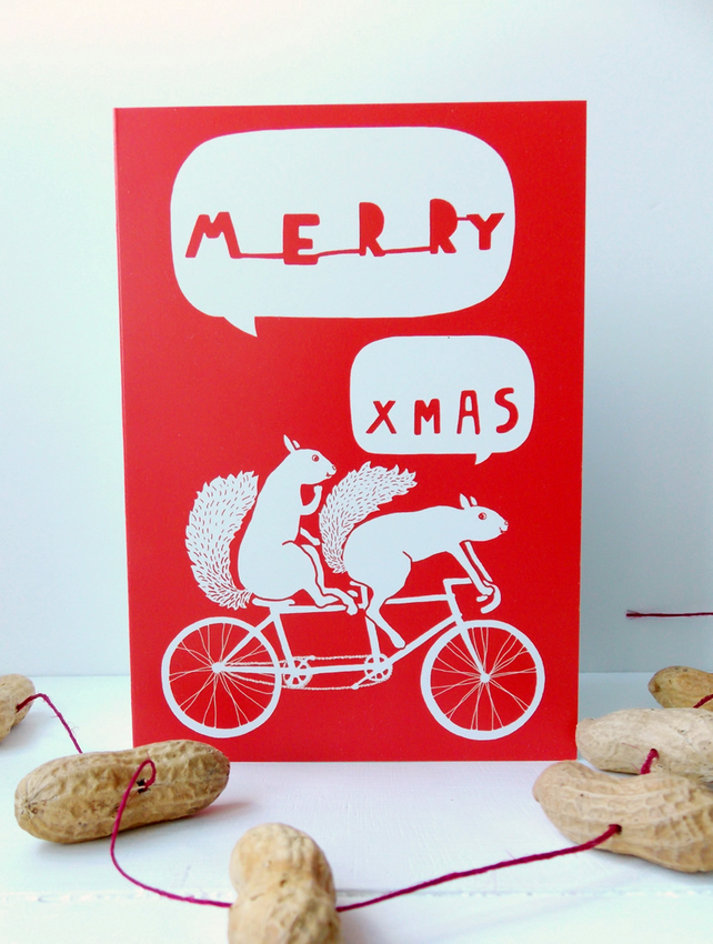 Merry Xmas Tandem Squirrels Christmas Card
