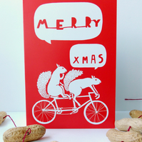 5 Pack of Red Merry Xmas Squirrels Riding a Tandem Cycle Christmas Cards