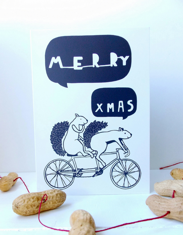 5 Tandem Squirrels Christmas Cards BLUE