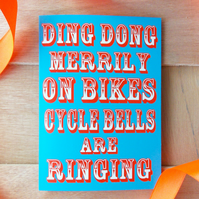 Ding Dong Merrily On Bikes Christmas Card