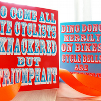 4 Celebratory Fun Cycling Themed Christmas Cards