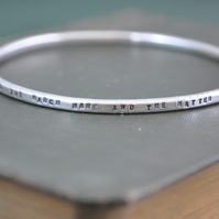 Handmade Mad Hatters Tea Party bangle in sterling silver
