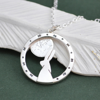 Moon gazing hare silver pendant