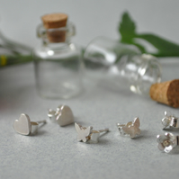 Silver bottled ear studs