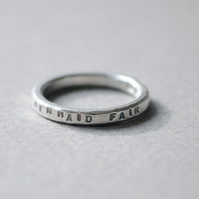 Silver quote ring, 'I would be a mermaid fair'