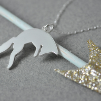 Leaping fox silhouette pendant
