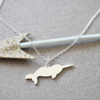 Sterling Silver Narwhal Pendant