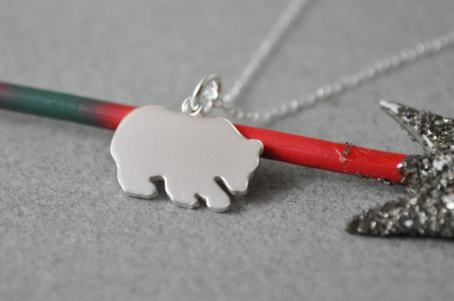 Little bear silhouette pendant