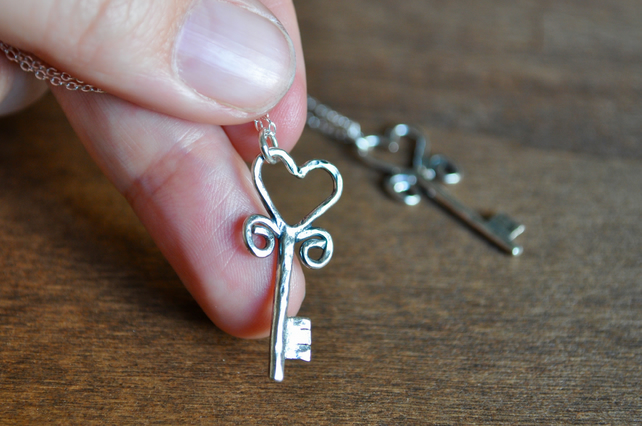 SALE Silver Key to Wonderland Valentine Heart Pendant
