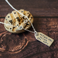 Silver Luggage Tag Pendant, Not All Who Wander Are Lost