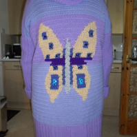 Crochet Hooded Jacket with Butterfly Motif