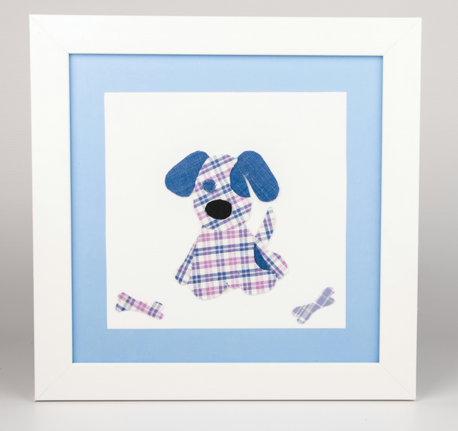 Puppy dog with bones,Personalised Appliqued Picture, wall art, nursery art.