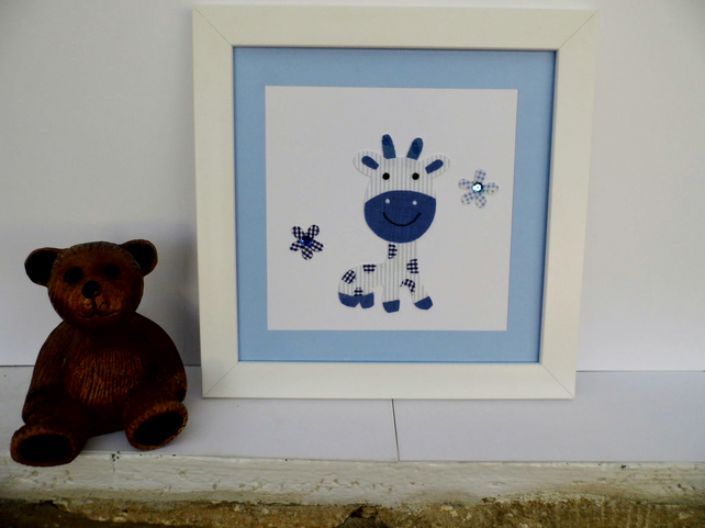 Blue giraffe Nursery picture