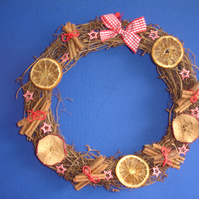 Dried fruit decorated christmas wreath free postage in the uk