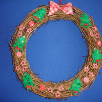 Trees and stars decorated christmas wreath Free postage in the uk
