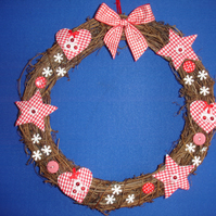 Red and white checked stars and hearts christmas wreath Free Postage in the uk