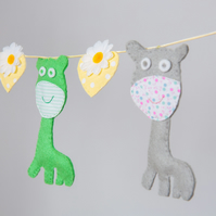 Felt grey and green giraffes with hearts and flowers Free postage within the uk