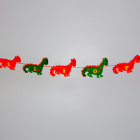 Felt green and Orange Dinosaur Bunting, Free postage within the uk