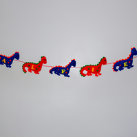 Felt Red and Blue Dinosaur Bunting, Free postage within the uk