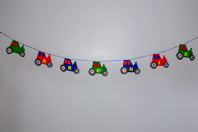 Red, Green and Blue felt tractor bunting, Free postage within the uk