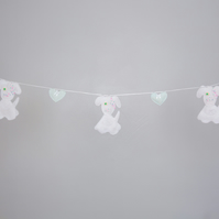 Felt puppy dog bunting with hearts Free postage within the uk