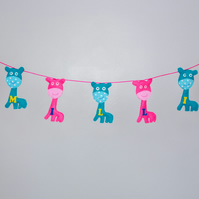 Felt Blue and Pink Giraffes Bunting, Free postage within the uk