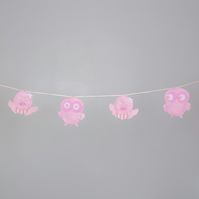 Pink bunting, owl, bird, decor, felt bunting Free postage within the uk